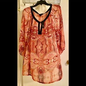 East 5th women blouse 3X NWT sheer red black🌺